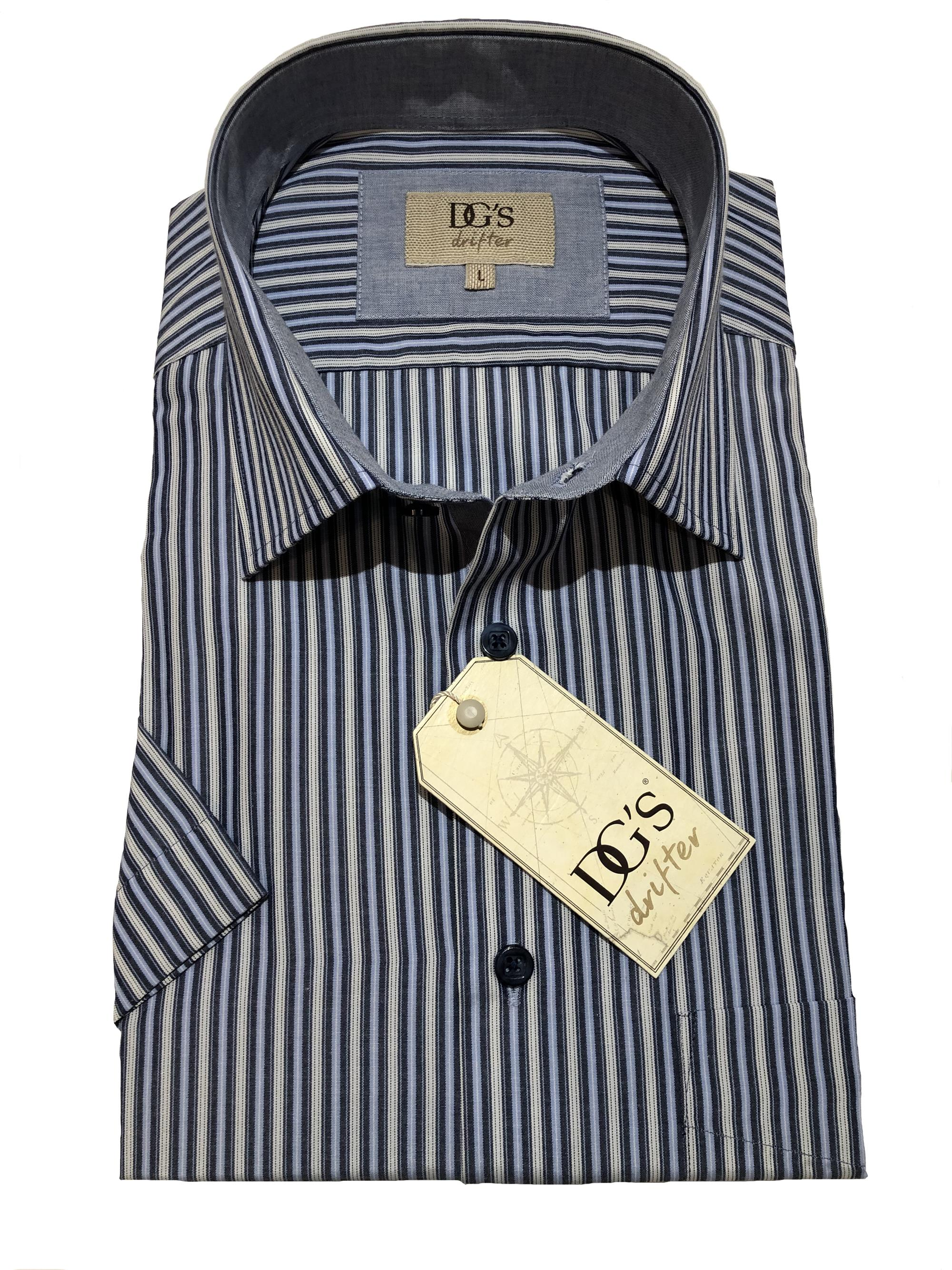 short sleeve neat stripe (blue / grey)