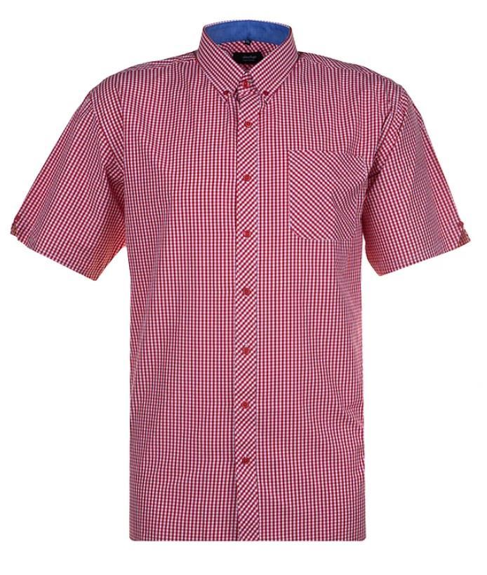 short sleeve gingham check shirt (red)