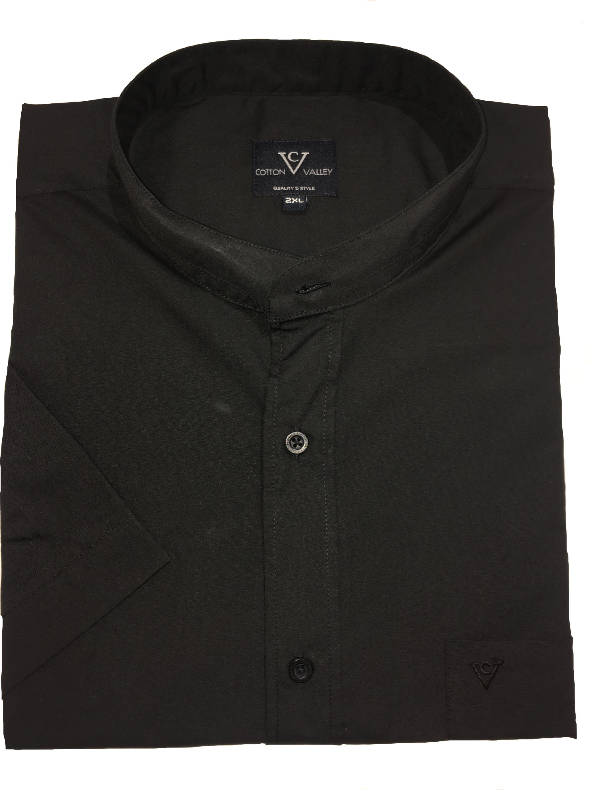collarless / grandad collar short sleeve shirt (black)