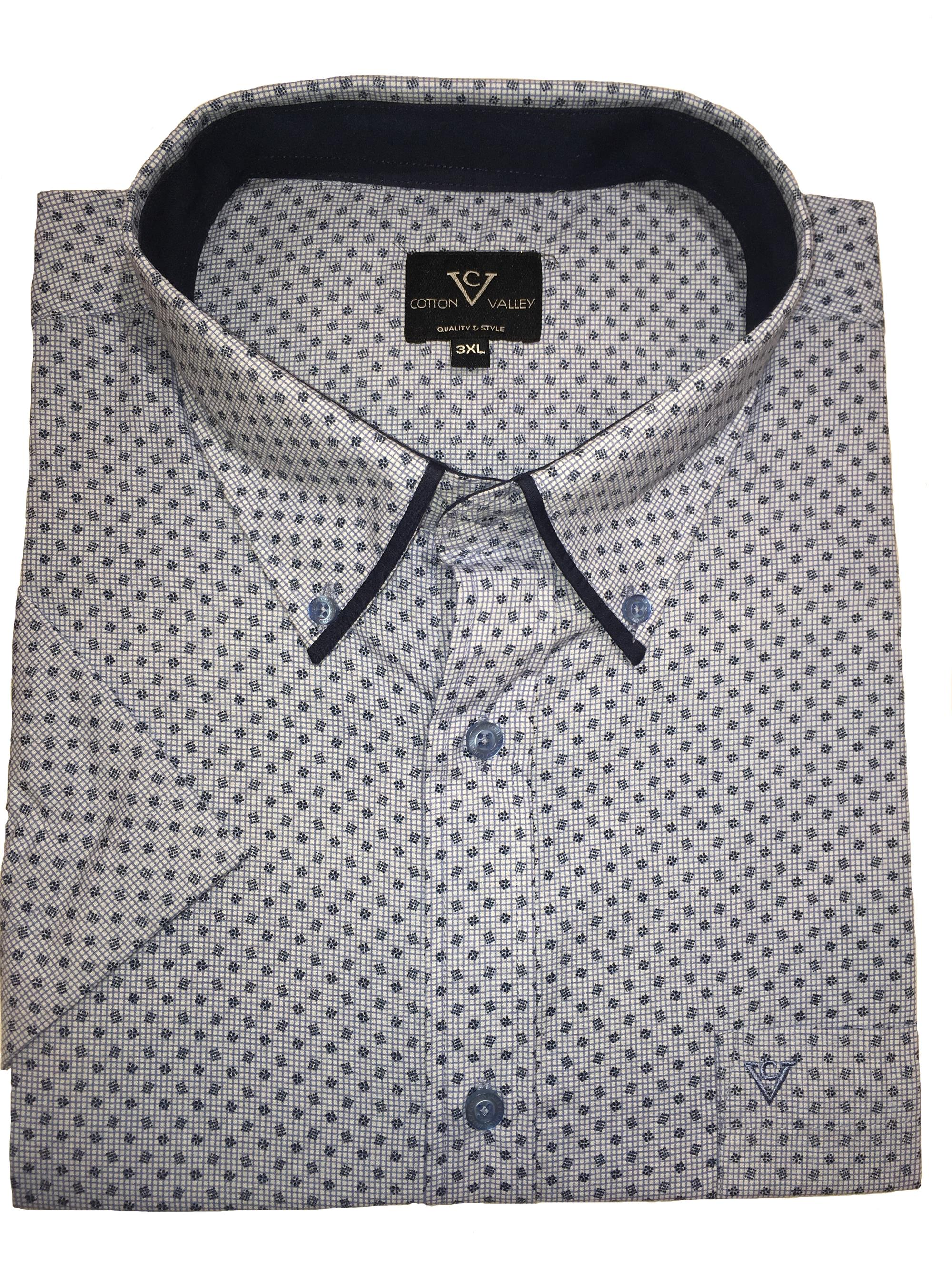 short sleeve patterned shirt (white/blue)