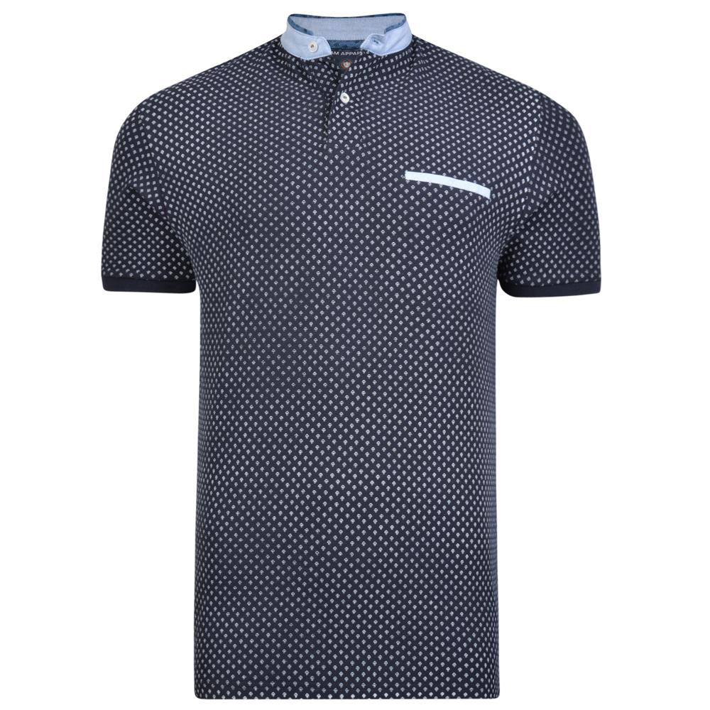 mini anchor grandad collar polo (black)