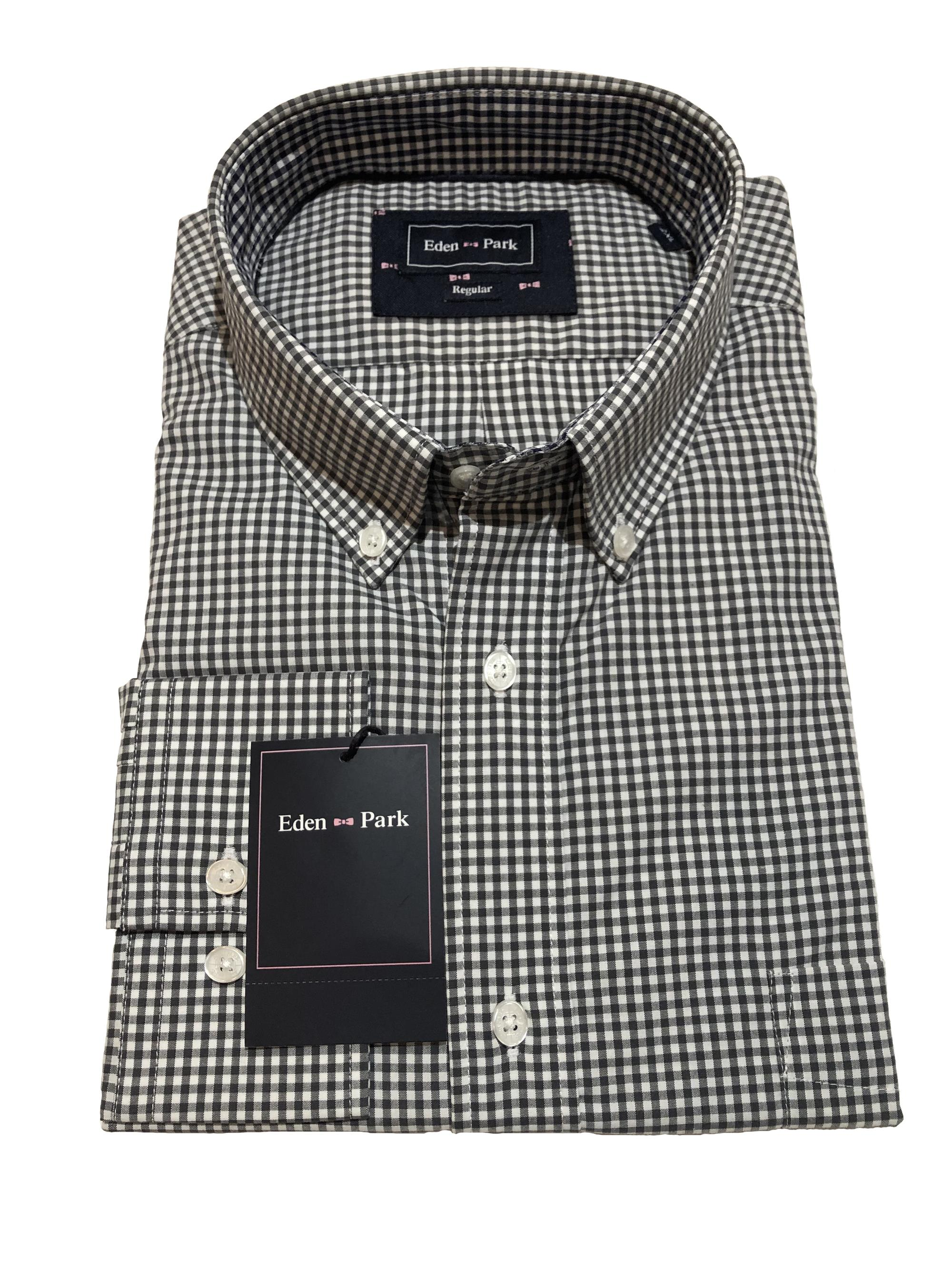 classic long sleeve gingham check shirt (charcoal)
