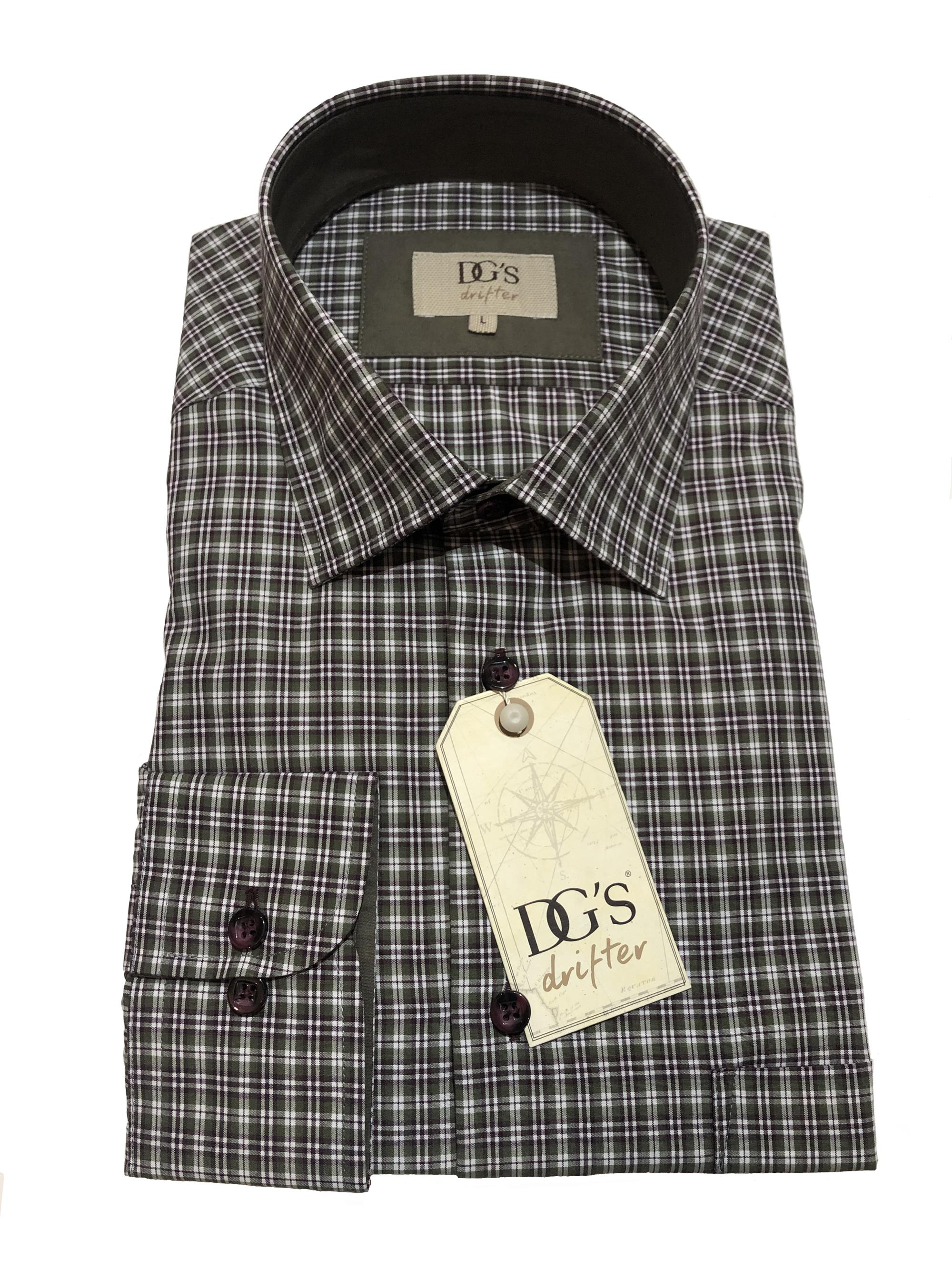 long sleeve neat multi check shirt (lovat / brown)