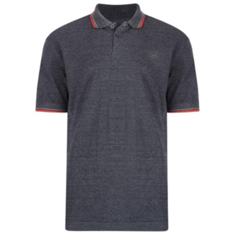 classic tipped polo shirt (charcoal)