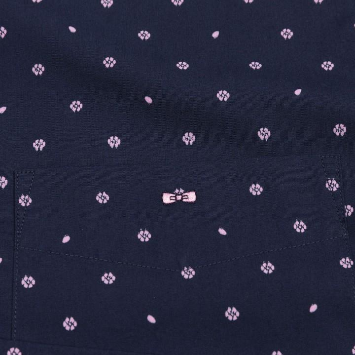 long sleeve floral patterned shirt (navy)
