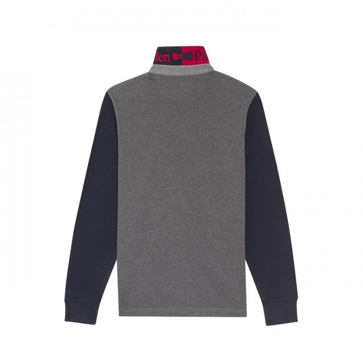 long sleeve polo with contrast sleeves & collar (grey)