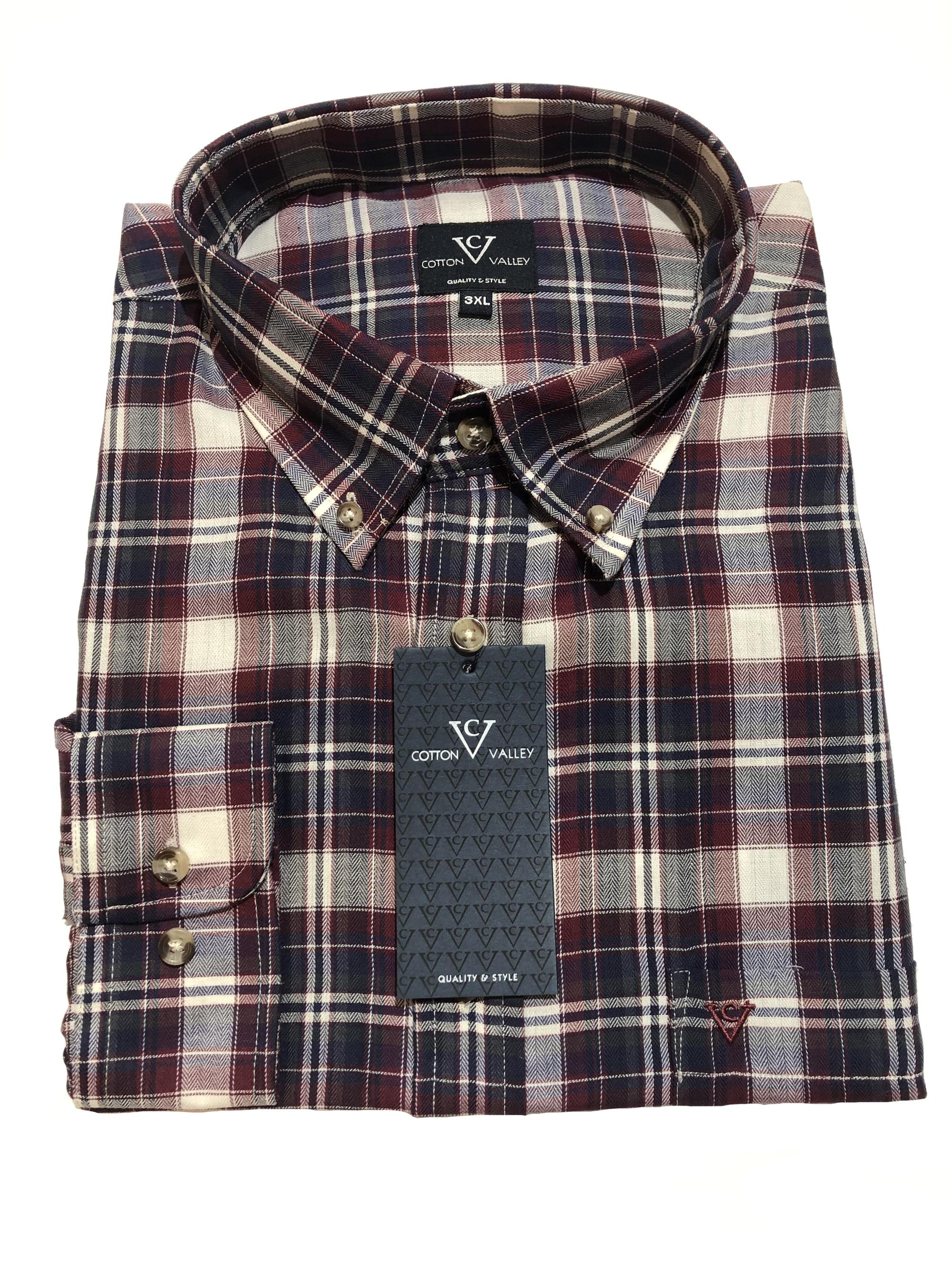 multi check long sleeve shirt (navy/wine)