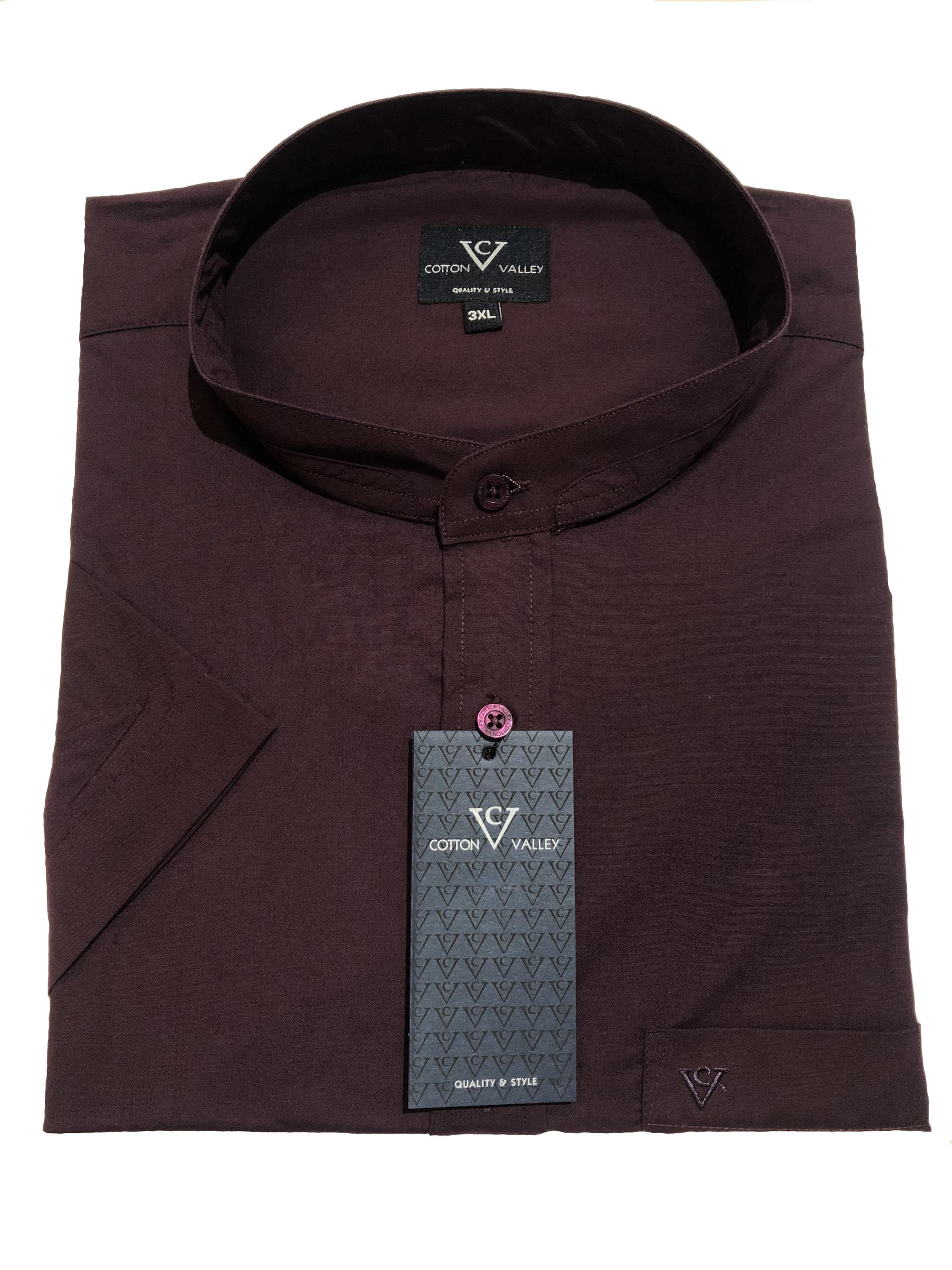 collarless / grandad collar short sleeve shirt (aubergine)