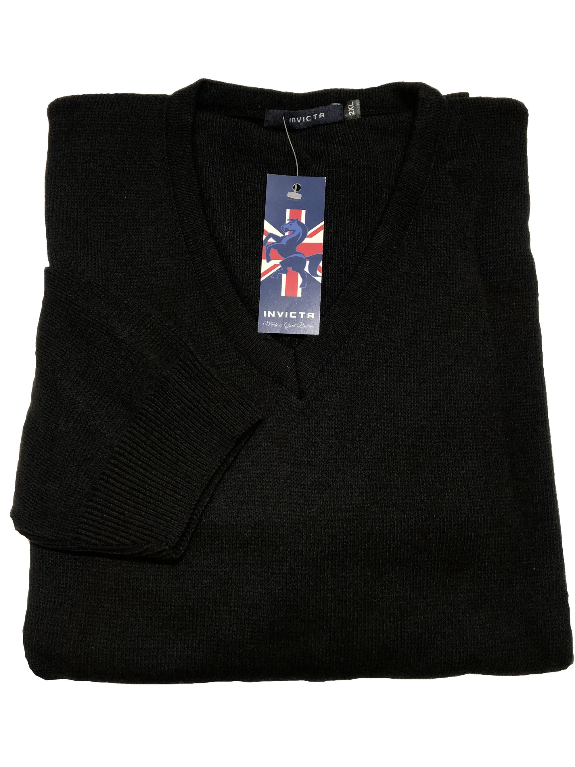 plain v-neck sweater (black)