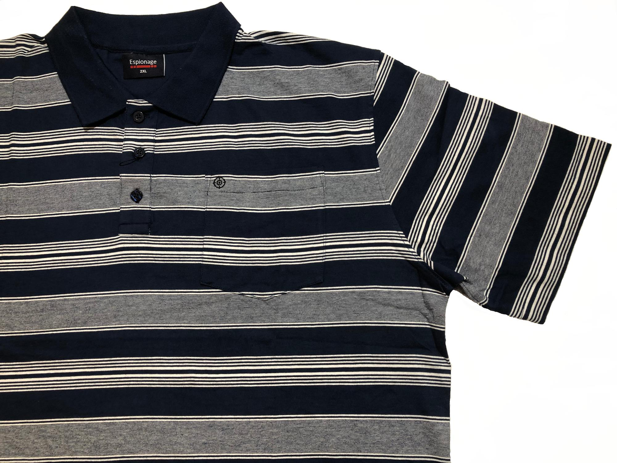 striped jersey polo shirt (navy)