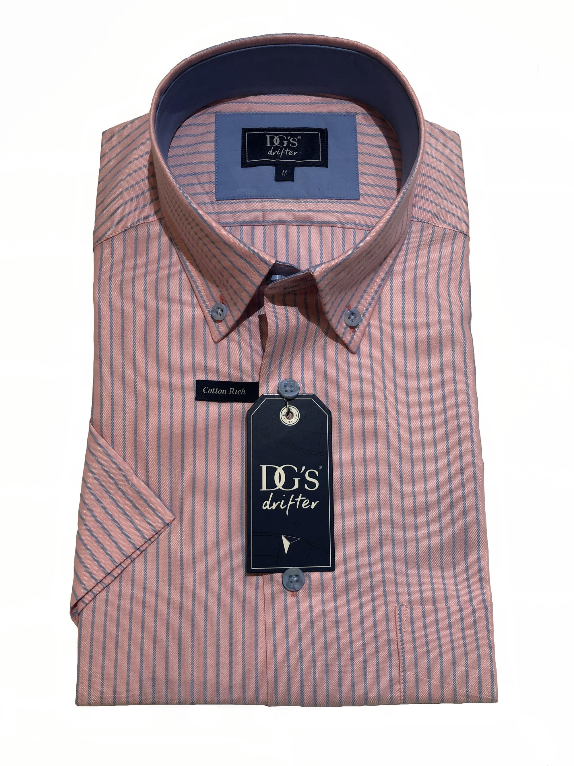 short sleeve neat stripe shirt (pink/blue)