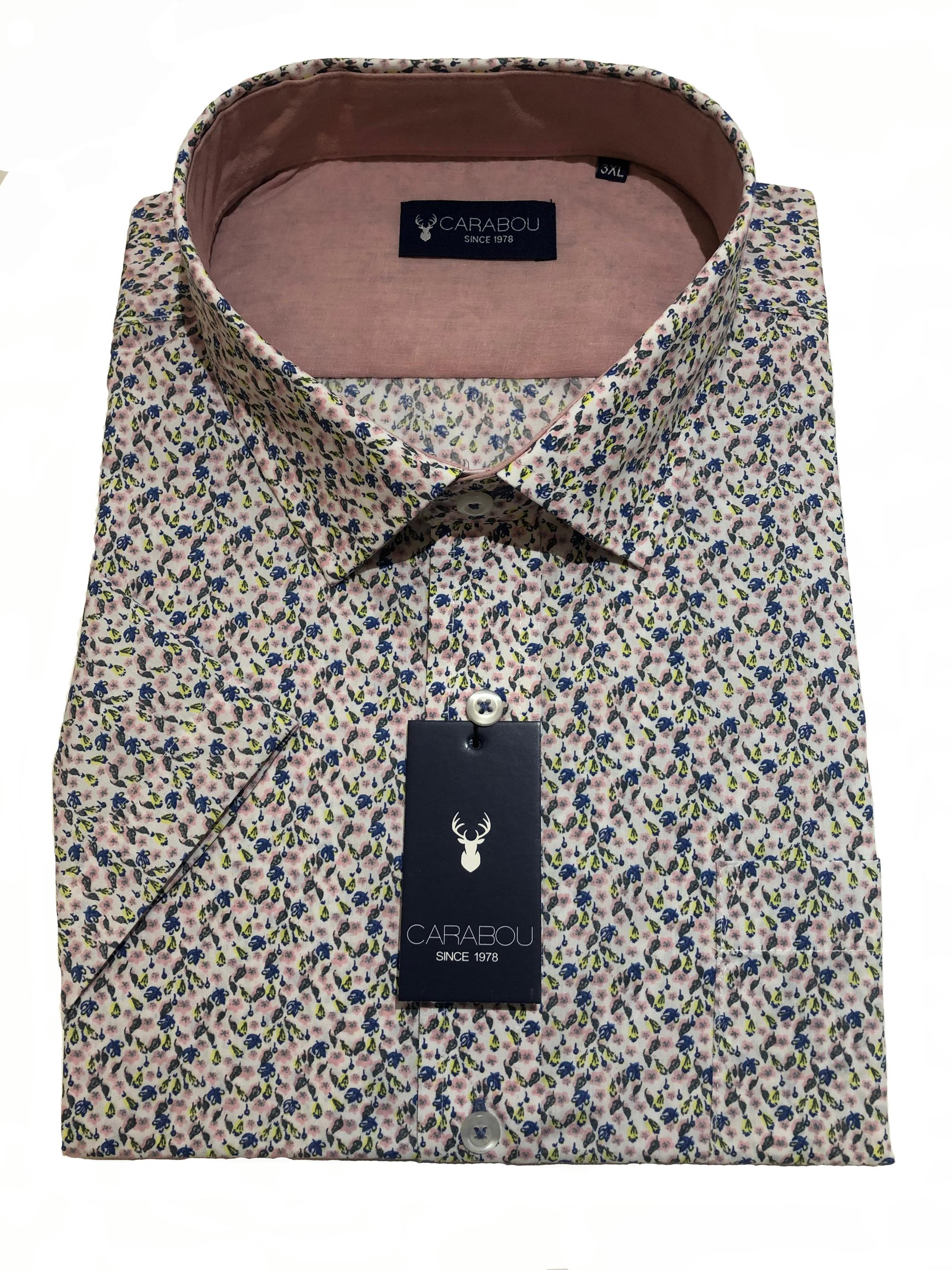 short sleeve floral pattern shirt (blue/salmon)