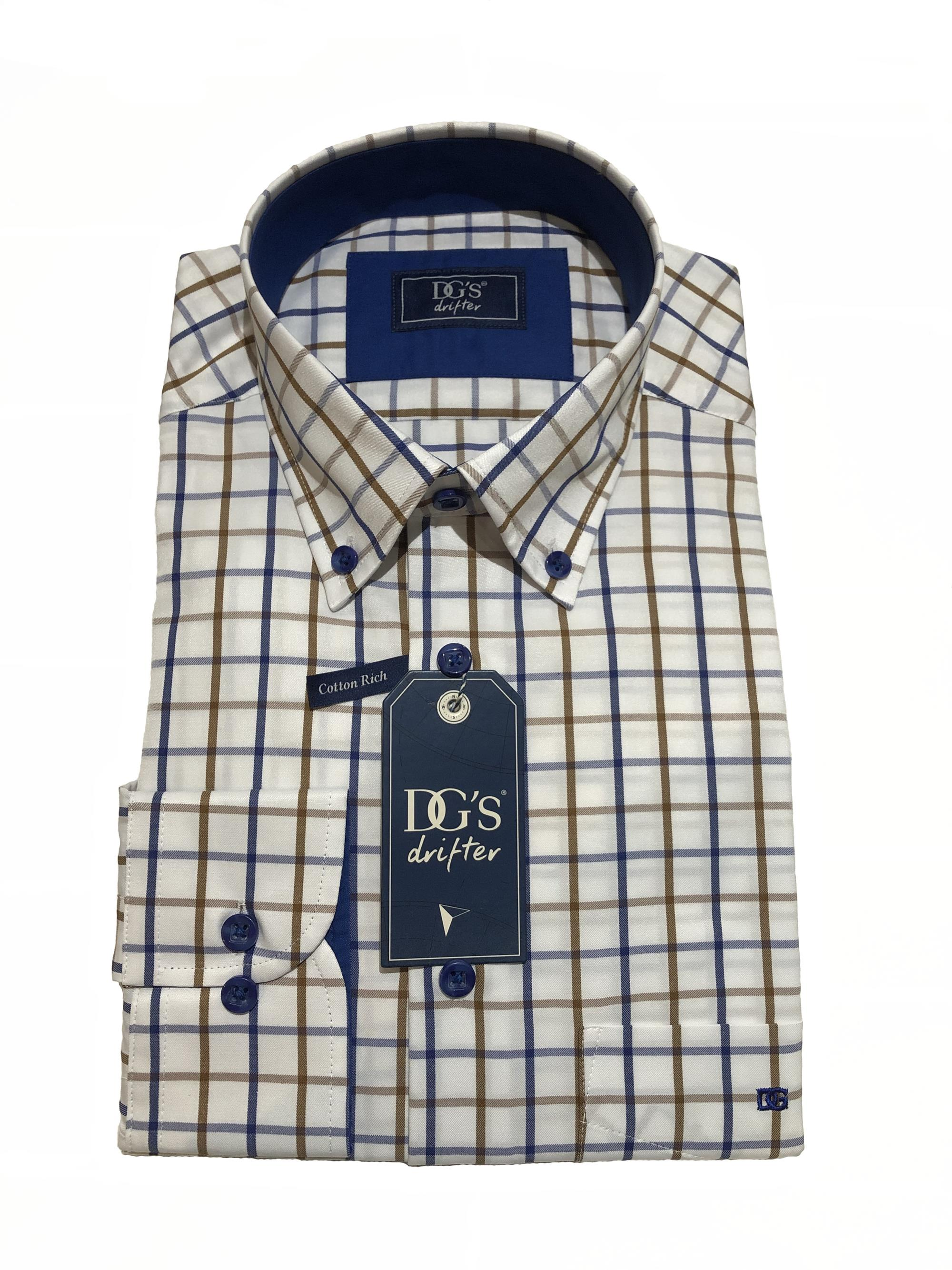 long sleeve check shirt (white/blue/tan)