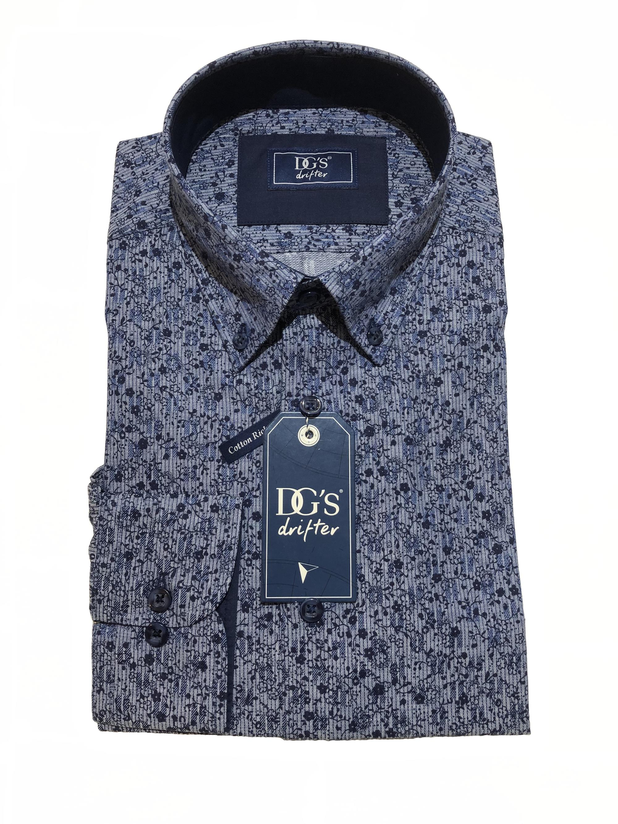 long sleeve patterned shirt (mid blue / navy)
