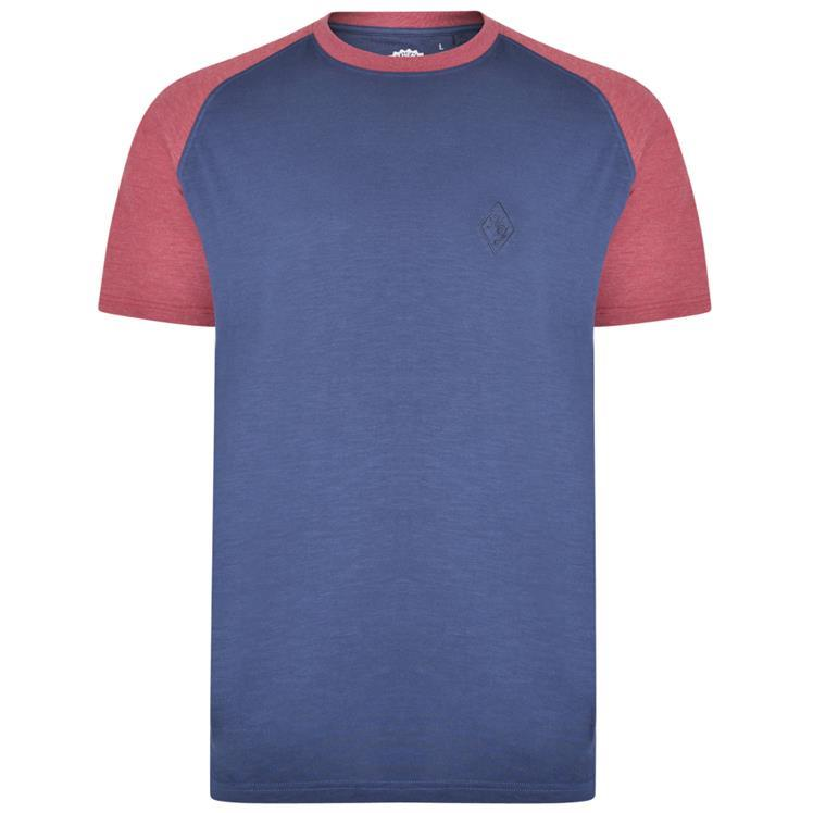 crew neck raglan sleeve t-shirt (blue/wine)
